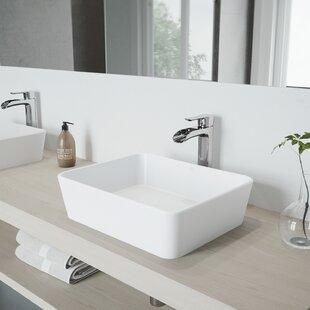 Online Reviews VIGO Matte Stone Rectangular Vessel Bathroom Sink with Faucet By VIGO