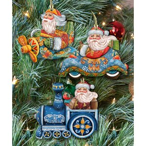 3 Piece Voyage Santa Ornament Set