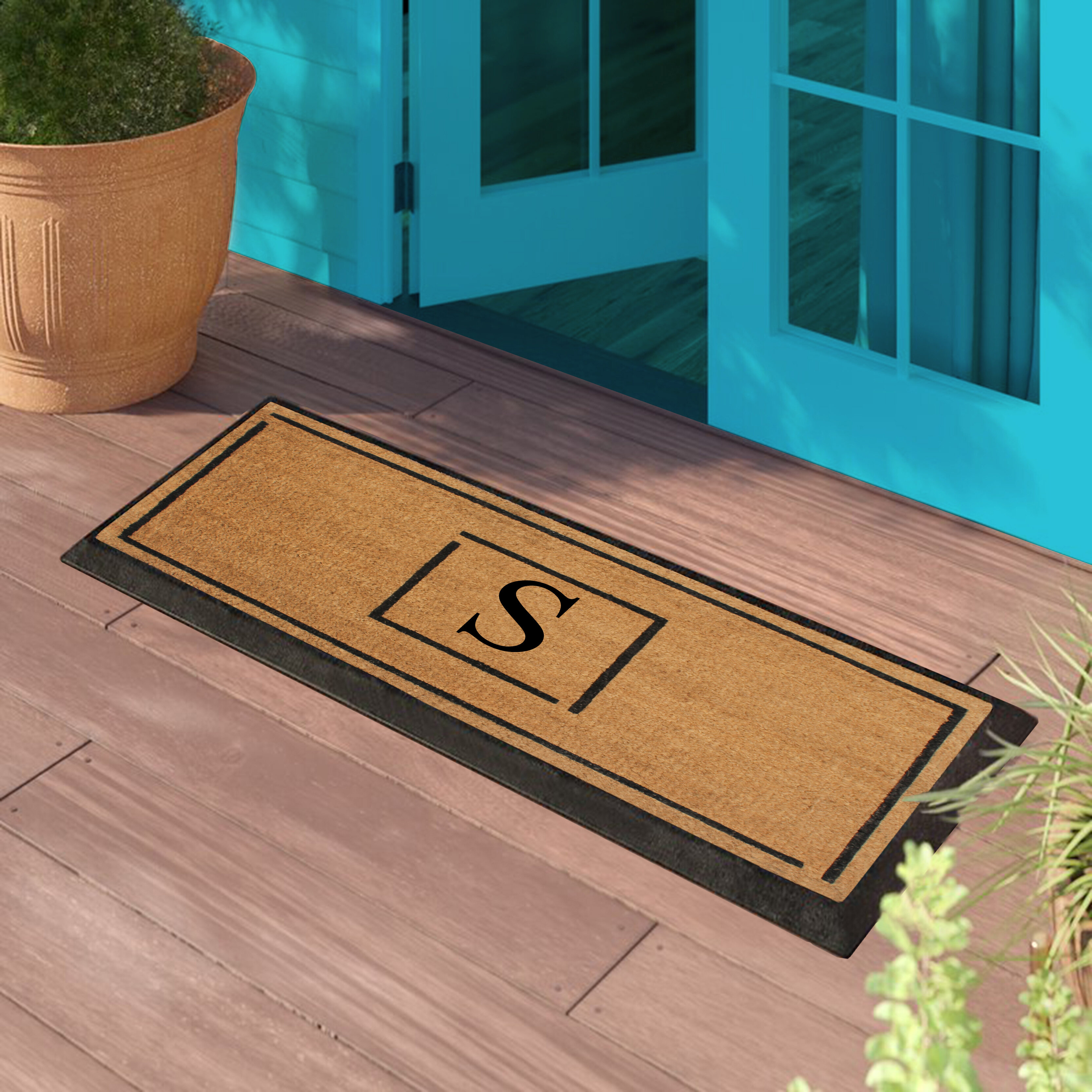 Latitude Run Amaranthe Hand Crafted Rubber Coir 48 In X 24 In Non Slip Outdoor Door Mat Wayfair