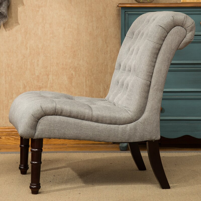 Delightful Lambrecht Rolled Back Button Tufting Armless Slipper Chair Pictures