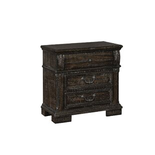 Damascus Spacious Three Drawer Solid Wood Night Stand with Block Legs, Brown by 17 Stories