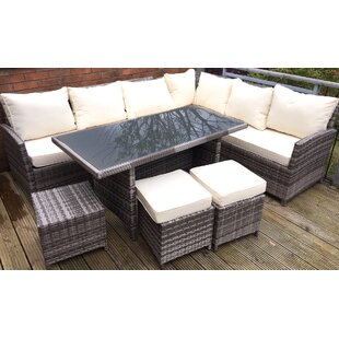 8 Seater Rattan Effect Corner Sofa Set With Cushions