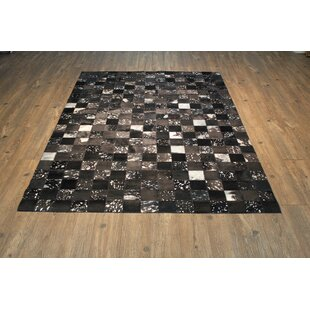 Order Oconner Hand-Woven Cowhide Black/Gray Area Rug By Loon Peak
