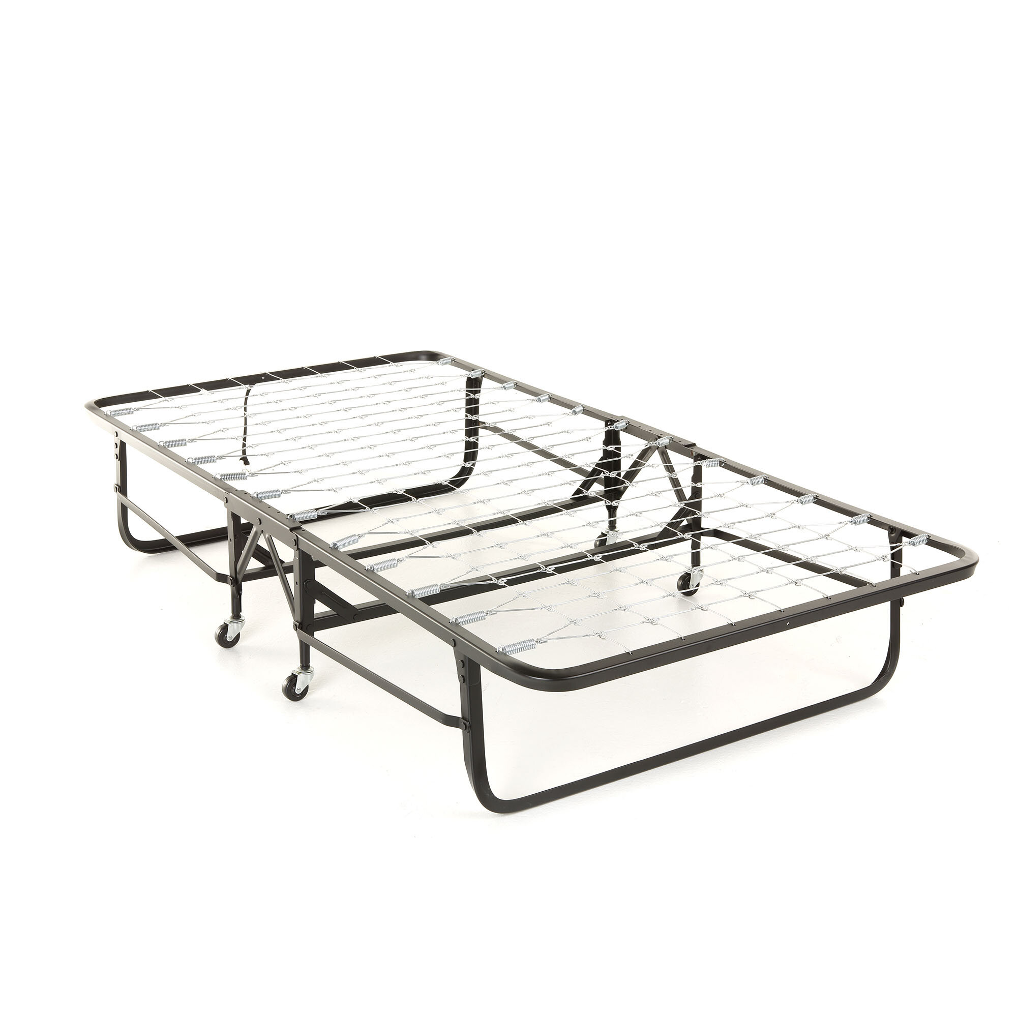 Symple Stuff Folding Link Spring Bed With 39 Foam Mattress And Angle Steel Frame