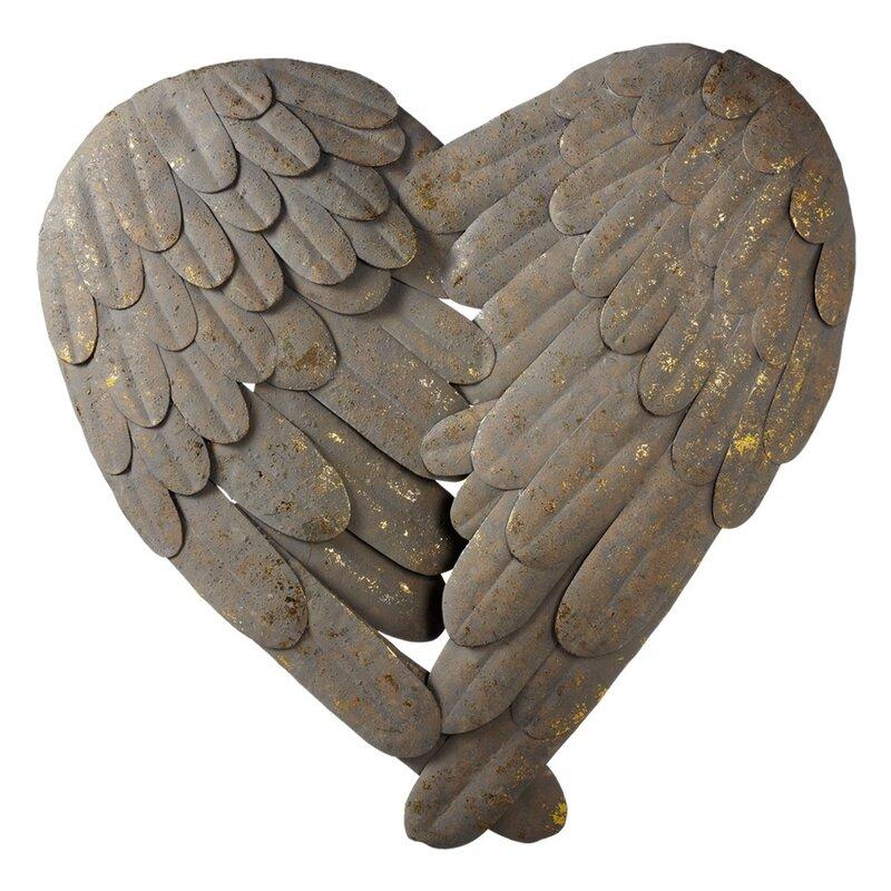 Heart Feather Iron Wall Décor