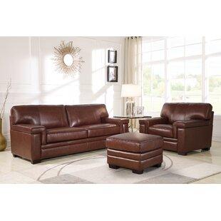 Ehmann 3 Piece Leather Living Room Set