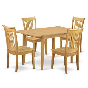 Phoenixville 5 Piece Extendable Breakfast Nook Solid Wood Dining Set by Three Posts