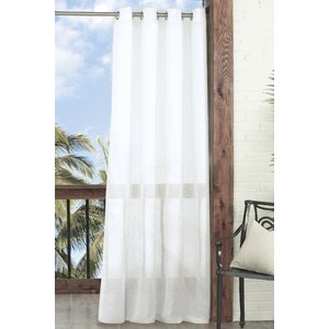 Summerland Key Solid Sheer Outdoor Grommet Single Curtain Panel
