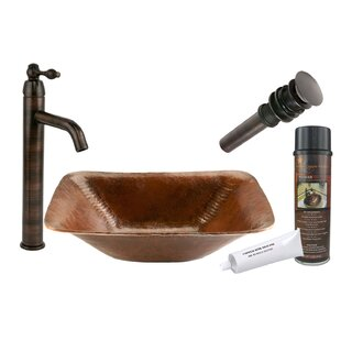 Reviews Old World Metal Rectangular Vessel Bathroom Sink with Faucet ByPremier Copper Products