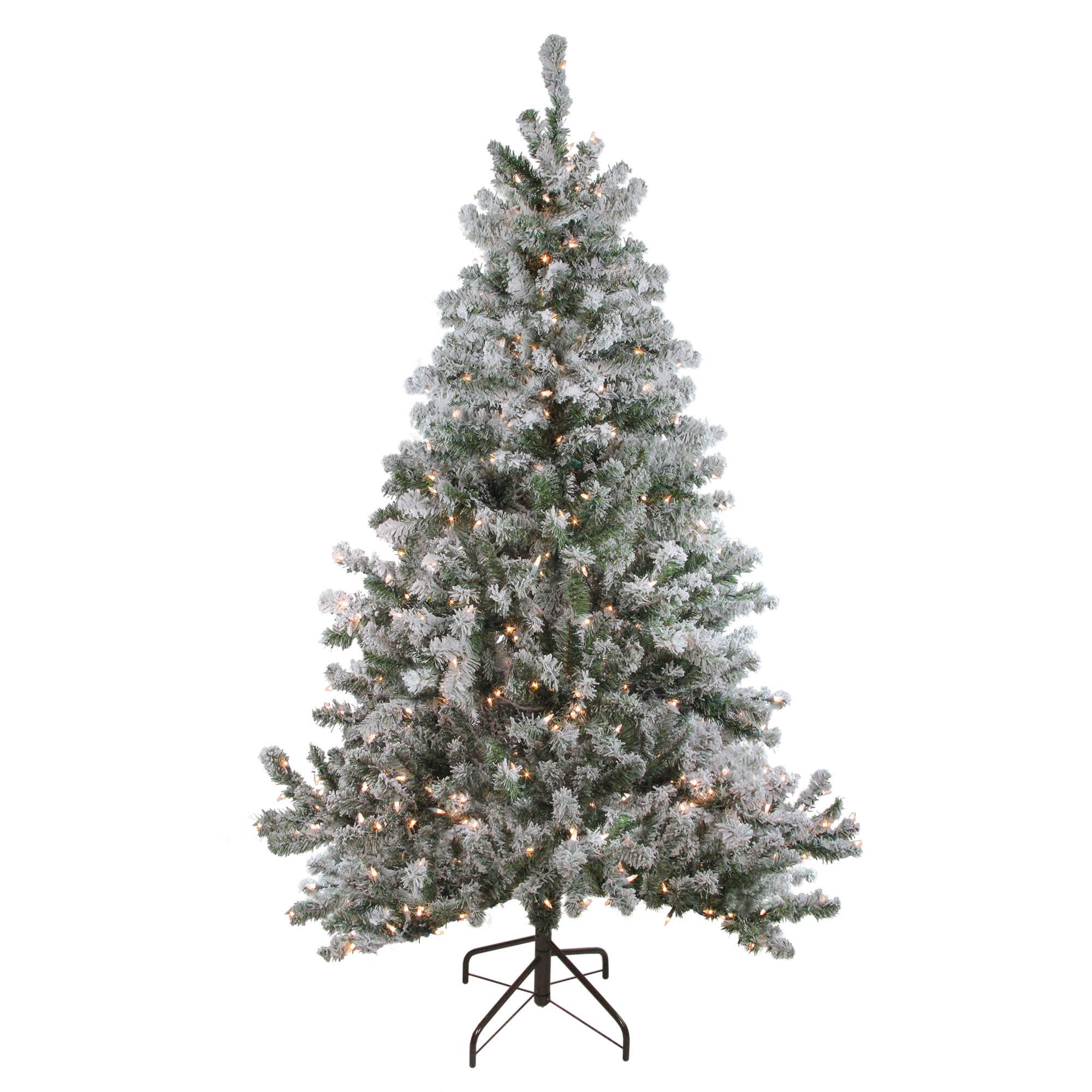 Artificial Christmas Tree Branches.Pre Lit Flocked Balsam Green Pine Artificial Christmas Tree With 500 Clear Lights