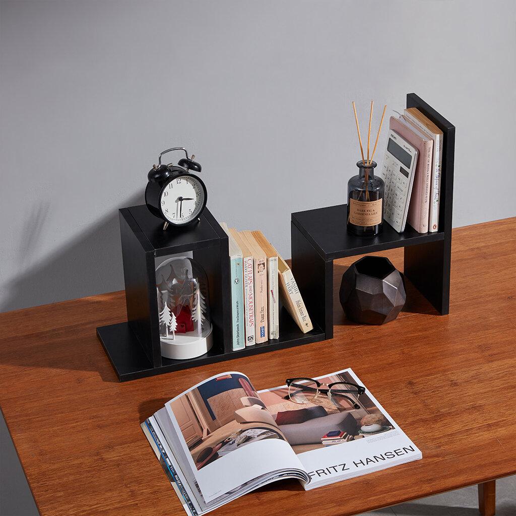 Serene Life Bamboo Wood Expandable Desk Organizer Desktop Tabletop Organic Wooden Filing Organization Bookshelf with Storage Drawer