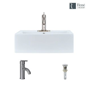 Vitreous China Rectangular Vessel Bathroom Sink with Faucet and Overflow ByRené Elkay