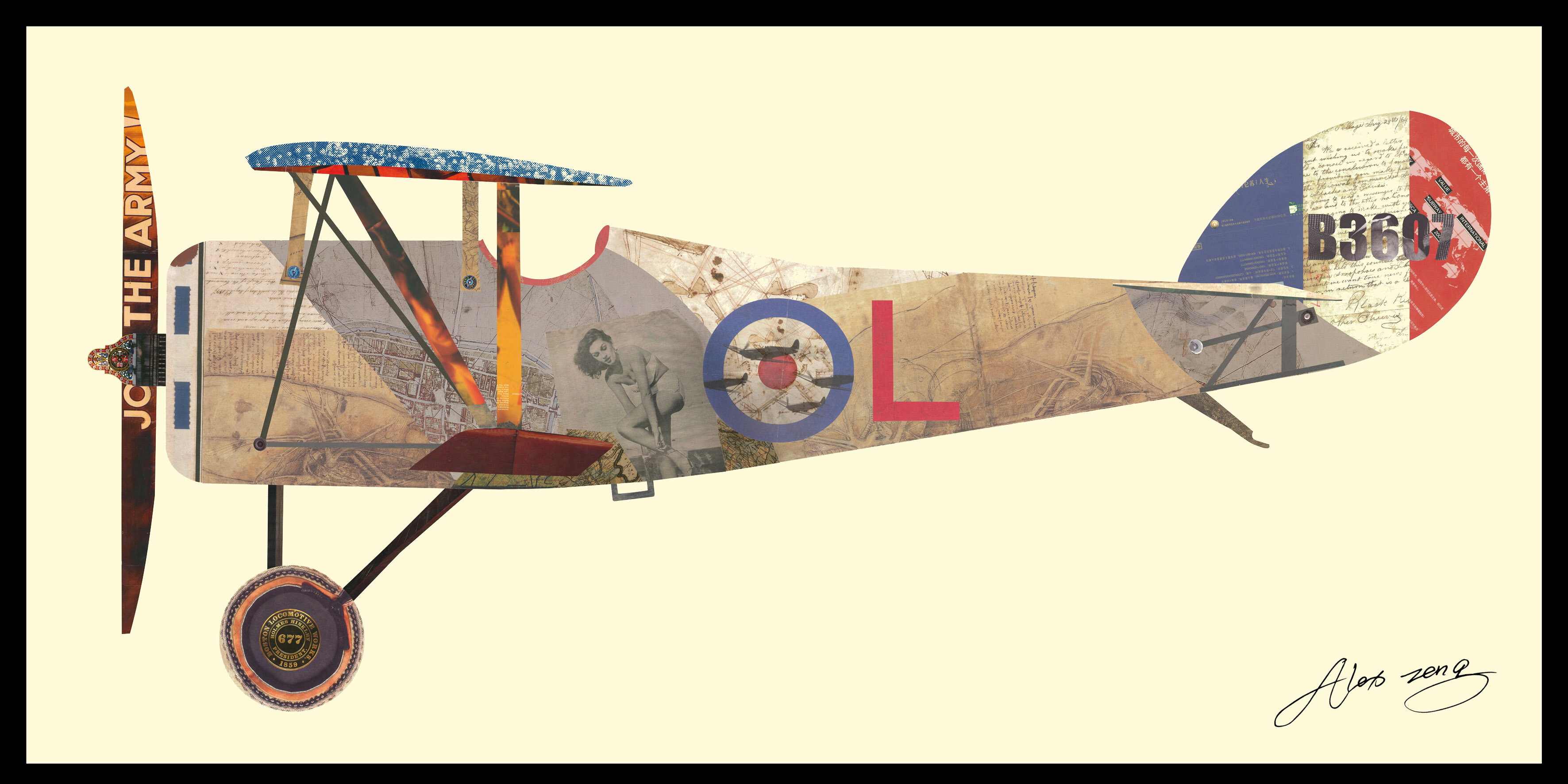 Empire Art Direct Antique Biplane 1 Dimensional Collage Hand Signed
