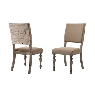 Dasher Nail Head Trim Script Printed Upholstered Dining Chair (Set of 2) One Allium Way