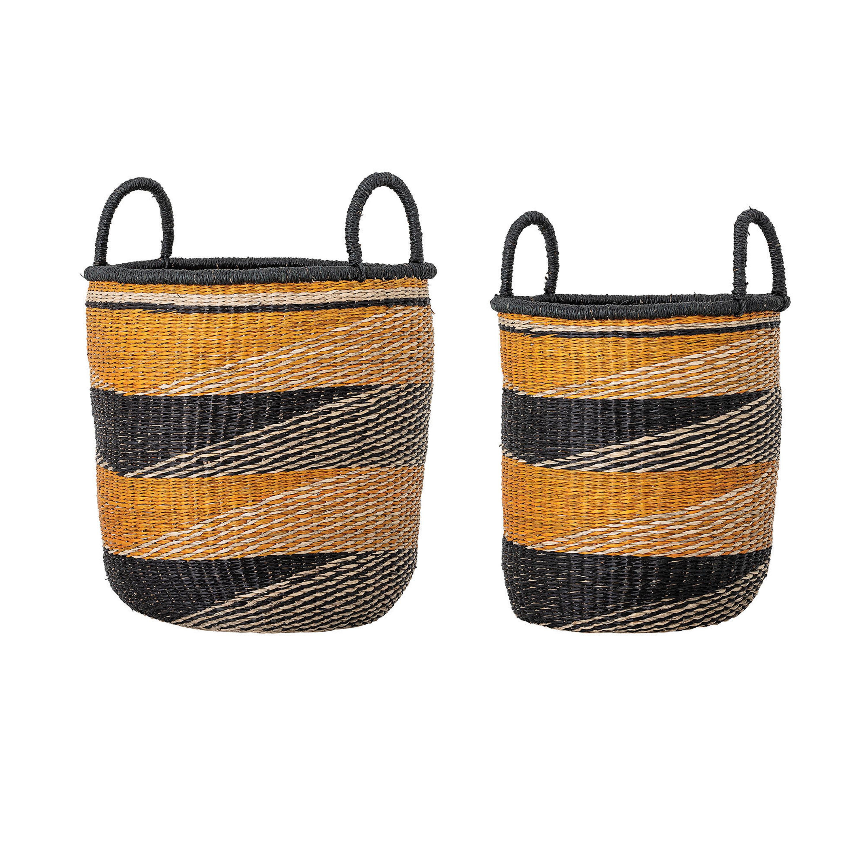 Bayou Breeze Handwoven Striped 2 Piece Seagrass Basket Set Reviews Wayfair