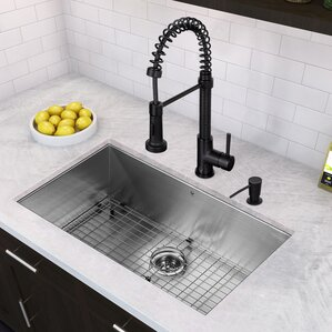 VIGO 32 inch Undermount Single Bowl 16 Gauge Stainless Steel Kitchen Sink with Edison Matte Black Faucet, Grid, Strainer a...