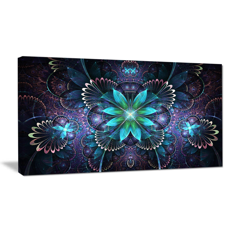 Designart Blue Fractal Flower Graphic Art Print On Wrapped Canvas Wayfair