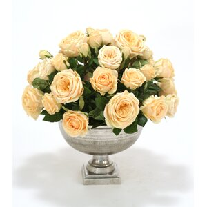Champagne Yellow Roses in Round Pewter Compote