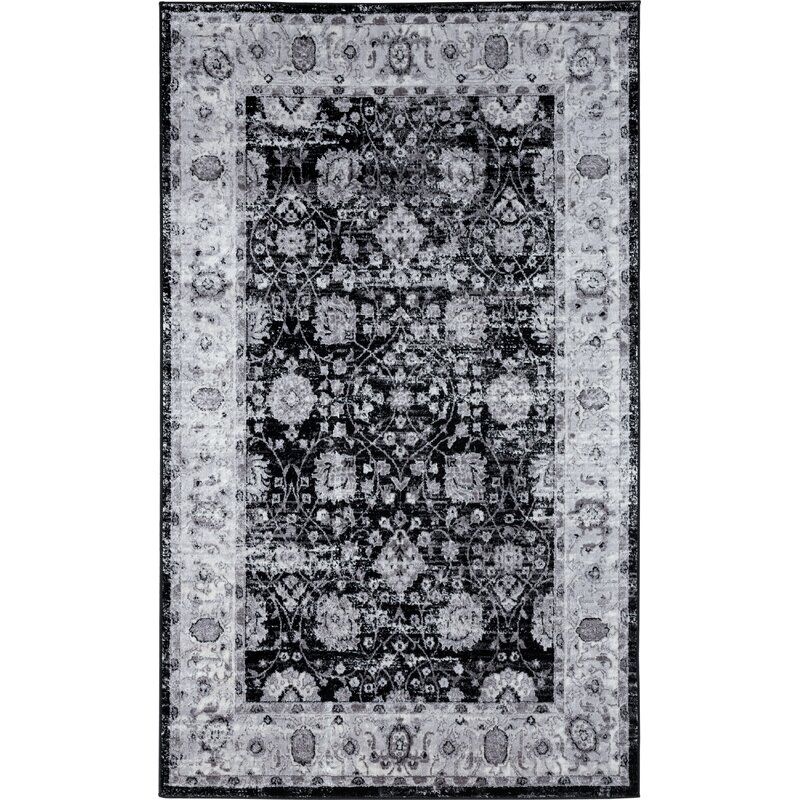 World Menagerie Bessoir Power Loom Black Beige Rug Wayfair