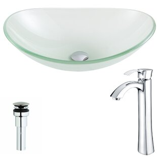 ANZZI Forza Glass Oval Vessel Bathroom Sink with Faucet