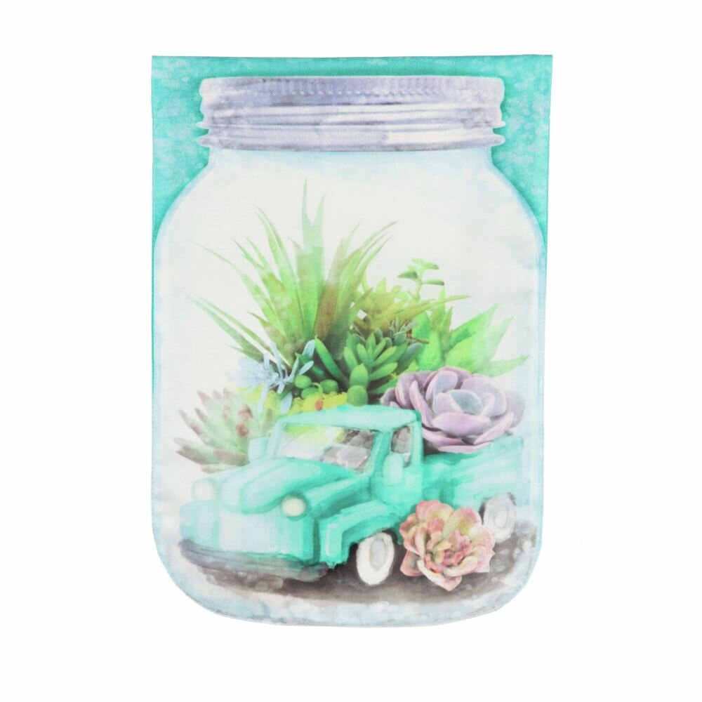 Evergreen Enterprises Inc Mason Jar Truck Terrarium 2 Sided Linen 18 X 13 In Garden Flag Wayfair