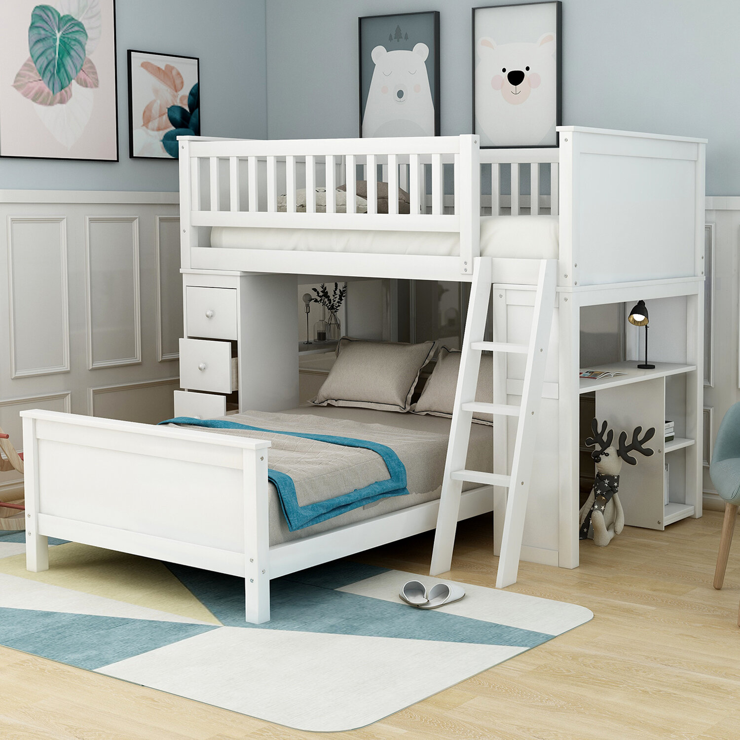 Harriet Bee Henri Twin Over Twin L Shaped Bunk Beds With 4 Drawers Reviews Wayfair