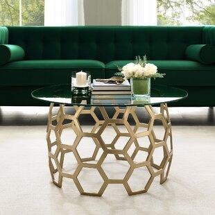 Jaxton Geometric Iron Base Coffee Table By Everly Quinn