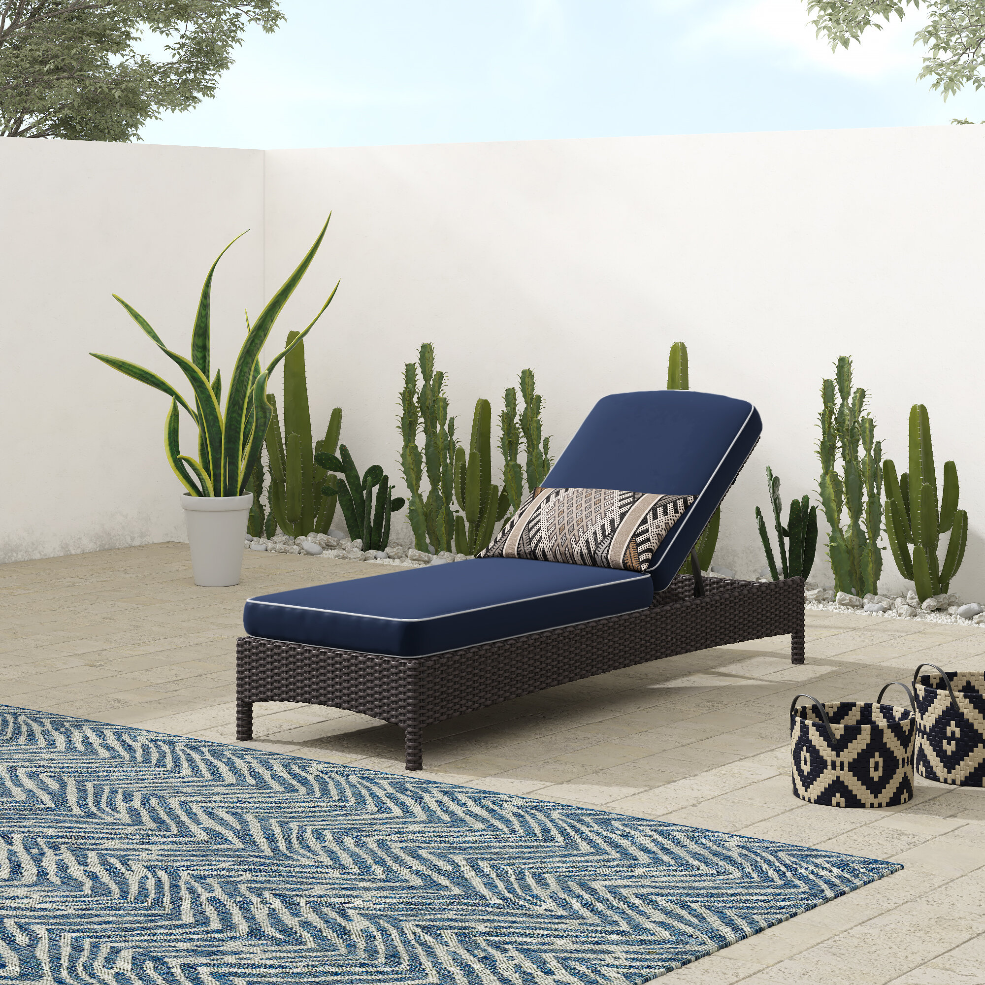 Outdoor Chaise Lounge.Crawfordsville Outdoor Chaise Lounge With Cushion