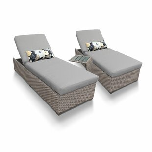 Medrano Reclining Sun Lounger Set with Cushion and Table (Set of 2)