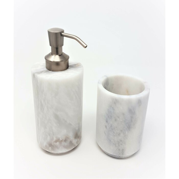 Newmarket Powder Honed Marble 2 Piece Bathroom Accessory Set