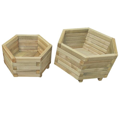 Medota 2 Piece Wooden Planter Box Set Freeport Park