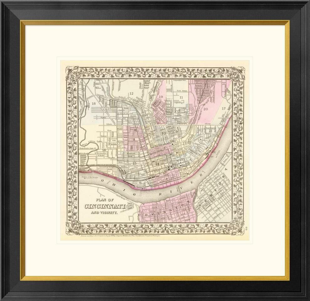 Global Gallery Cincinnati Ohio 1880 By Samuel Augustus Mitchell Framed Graphic Art Wayfair