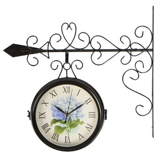 office large size floor clocks wayfair. Kaelin Hydrangea Double-Sided Wrought Iron 7.5\ Office Large Size Floor Clocks Wayfair