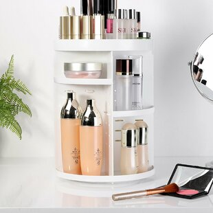 Etting Cosmetic Organizer with Adjustable Shelves By Rebrilliant