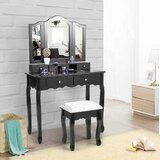 Tyner Vanity Set with Stool and Mirror by Canora Grey