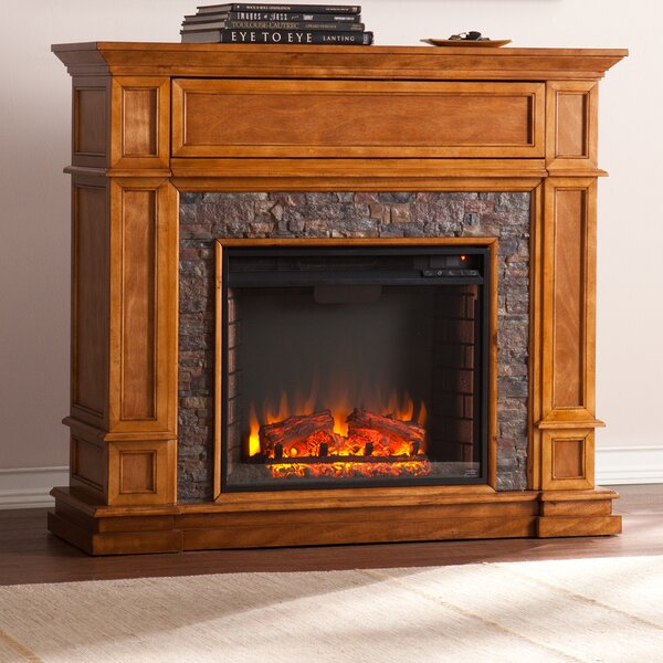 alcott hill valholl simulated stone media center electric fireplace u0026 reviews wayfair - Electric Fireplace Media Center