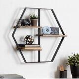 Ted 3 Piece Hexagon Oak Solid Wood Wall Shelf