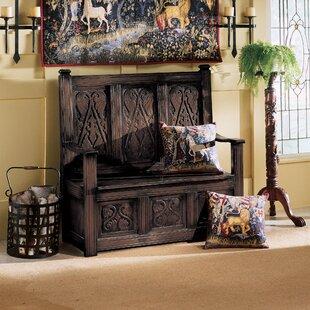 Historic Monk's Storage Wood Bench by Design Toscano