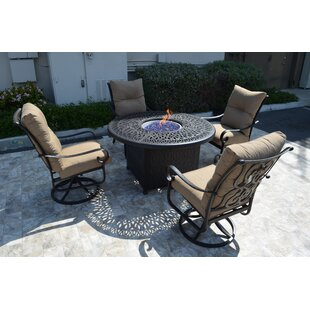 K&B Patio Florence 5 Piece Conversation Set with Cushions