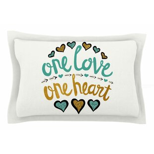 Pom Graphic Design 'One Love One Heart' Typography Illustration Sham