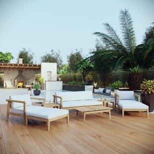 Edmeston Outdoor Patio 8 Piece Teak Sofa Seating Group with Cushions