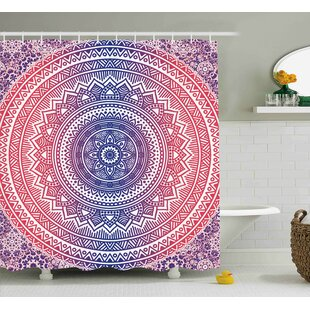 Lindsey Pink And Purple Ombre Mandala Design Ethnic Eastern Pattern Chakra  Meditation Hippie Art Shower Curtain