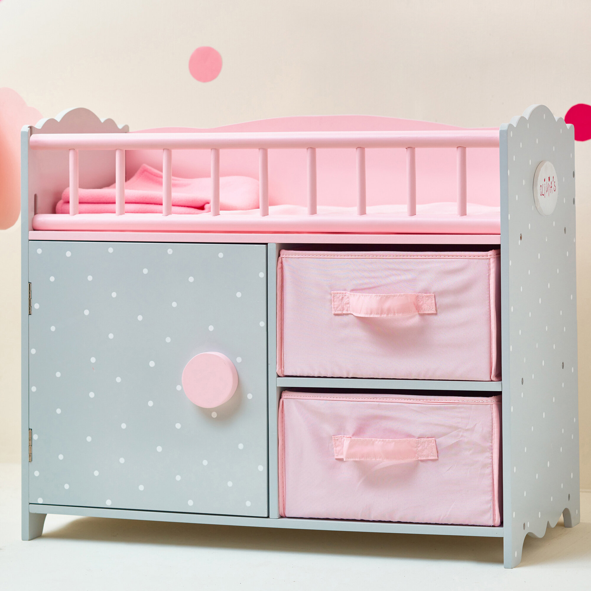 Picture of: Olivia S Little World Polka Dots Princess Baby Doll Crib With Cabinet And Cubby Reviews