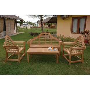 Marlborough 4 Piece Teak Sofa Seating Group with Sunbrella Cushions