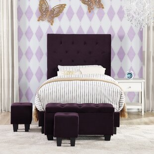 Harriet Bee Croce Twin Upholstered Bed with Ottoman