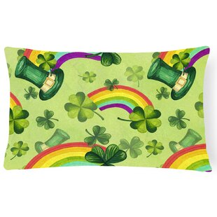 Maconay Watercolor St Patrick's Day Lucky Leprechan Indoor/Outdoor Throw Pillow