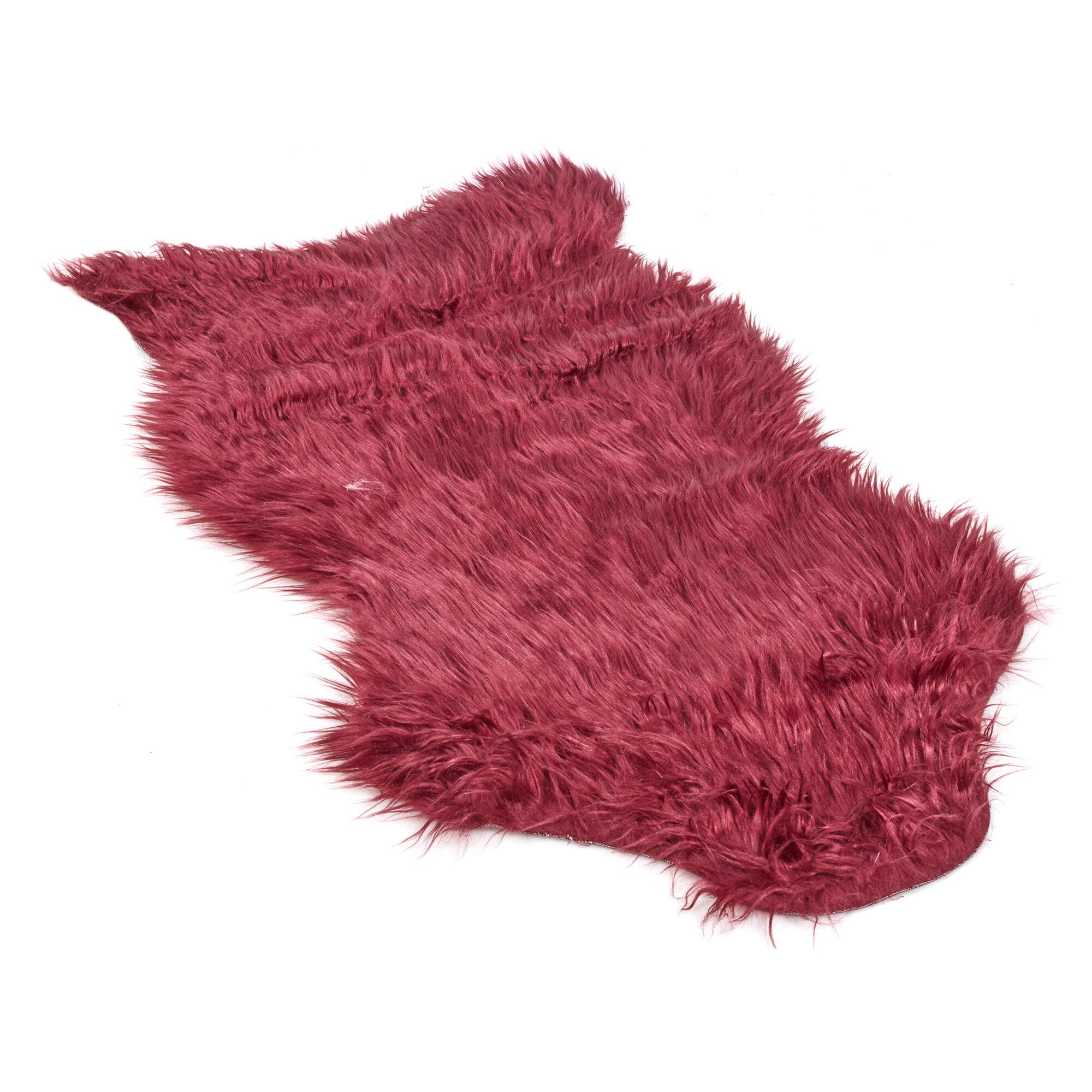 Ebern Designs Eddins Sheepskin Purple Rug Wayfair Co Uk