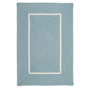 Doodle Edge Light Blue Border in Border Indoor/Outdoor Area Rug