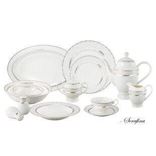 Bone China 57 Piece Dinnerware Set, Service for 8
