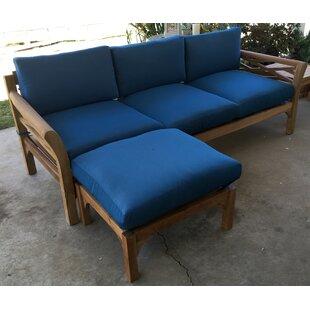 Trijaya Living Malibu Teak Patio Sofa with Sunbrella Cushions